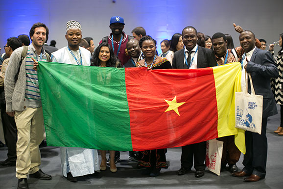 Scholars with flag of Cameroon