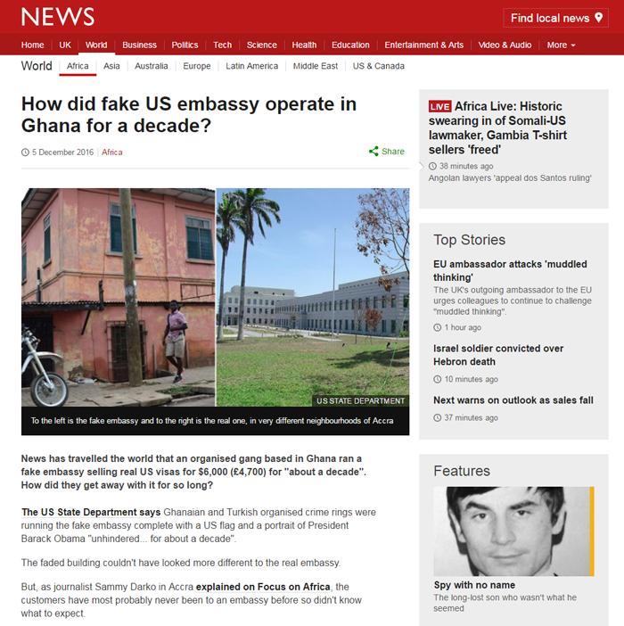 Fake embassy in Ghana BBC news story screenshot
