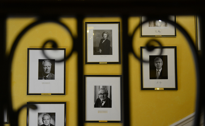Lady Thatcher alongside former PMs on the Grand Staircase - Crown Copyright image