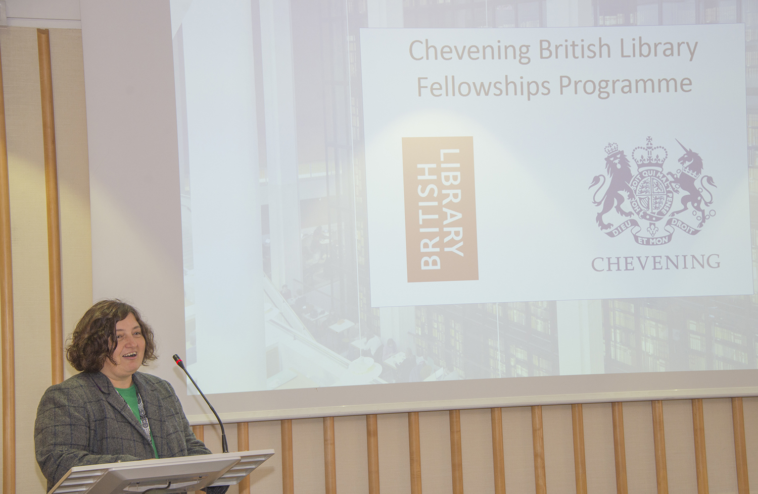 Maja Maricevic addresses the audience about the British Library Fellowship