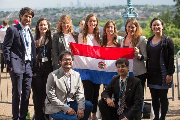 Scholars with Paraguay flag