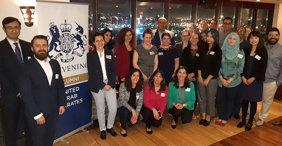 Yazan Madi (second from left) with members of the Chevening community at a meet-up in Dubai