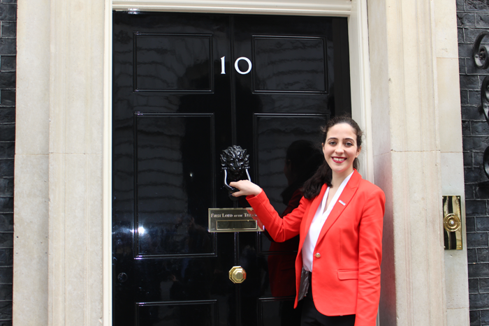 Chevening Scholar Camila Adames outside 10 Downing Street