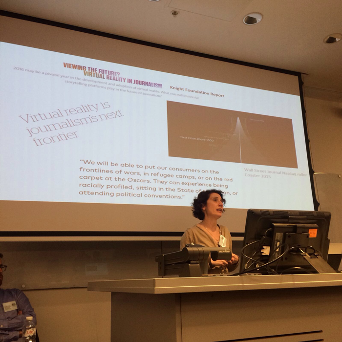 Dr Kate Nash virtual reality journalism lecture
