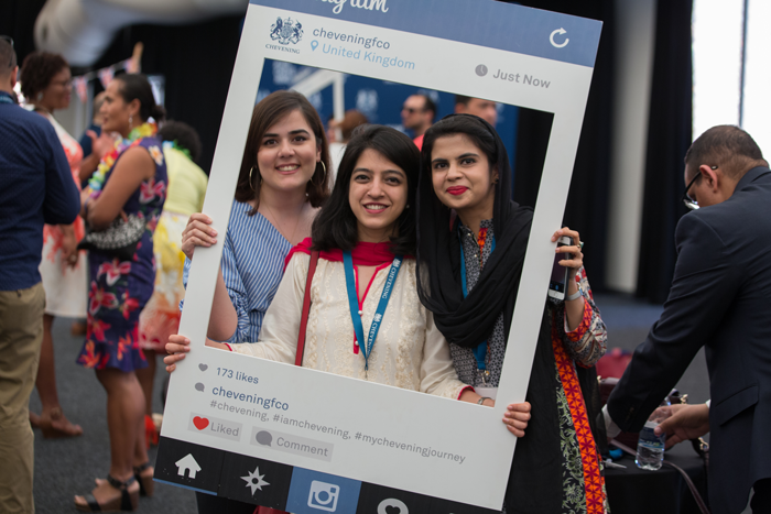 Chevening Scholars with Instagram boards