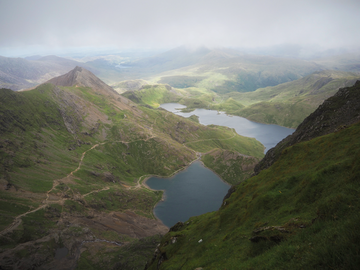 Looking down Mount Snowdon