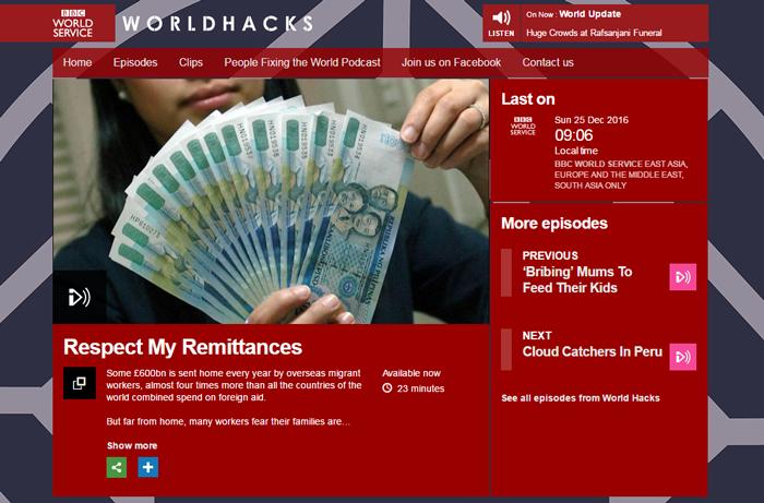 Respect My Remittances BBC World Service World Hacks programme screenshot
