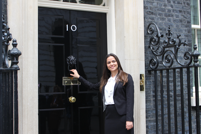 Scholar outside Number 10