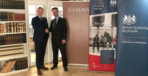 Gísli Hauksson CEO of GAMMA (left) and Ambassador Michael Nevin at the signing of the agreement.