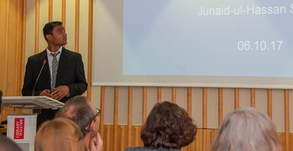 Junaid-ul-Hassan presents at British Library