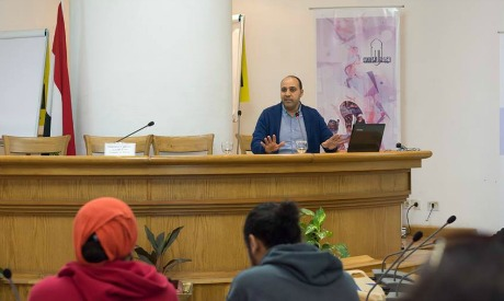 Mohamed El-Ghawy during the Arts Management Training, February 2017 (Photo: courtesy of AFCA for Arts and Culture facebook page)