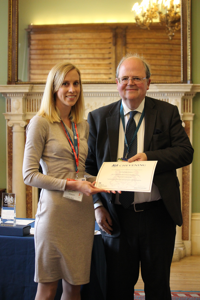 Chevening Scholar Justine Kate Fargher with Andrew McHallam