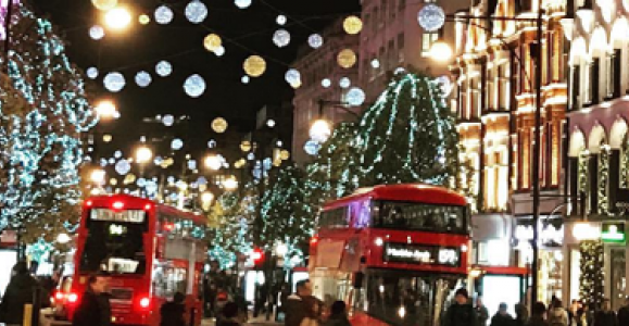 Bright Christmas lights on Oxford Street
